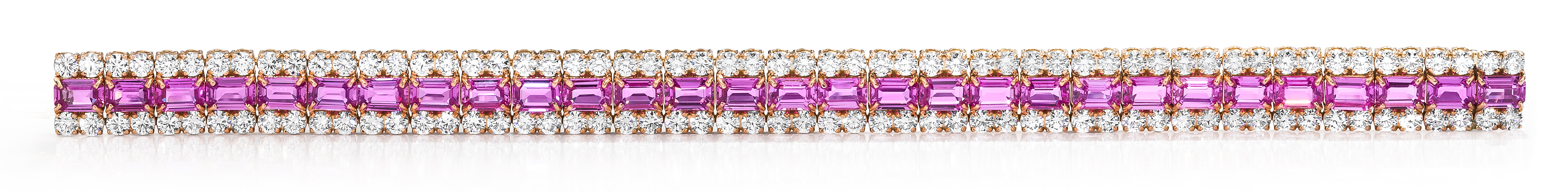 pink sapphire sehgal item flower node bracelet tennis diamonds